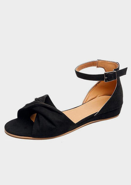 Solid Buckle Strap Flat Sandals - Black