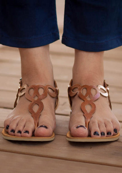 Solid Round Toe Flat Sandals - Brown