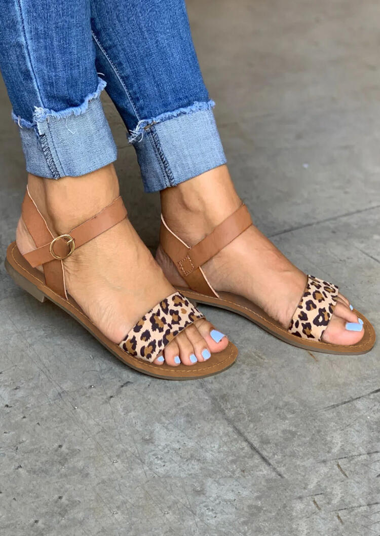 Leopard Printed Buckle Strap Sandals - Leopard