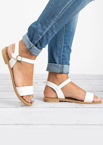 Solid Buckle Strap Flat Sandals - White