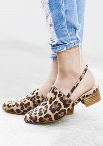 Leopard Printed Round Toe Heeled Sandals - Leopard