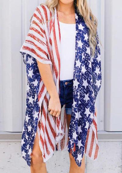 American Flag Printed Cardigan - Multicolor