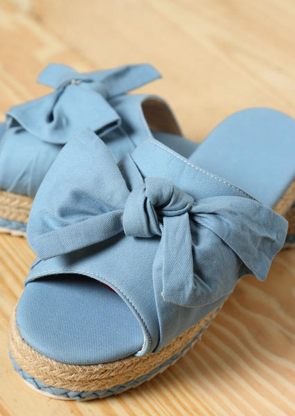 Solid Bowknot Platform Slippers - Sky Blue