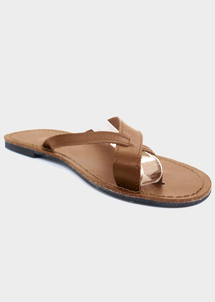Solid Flat Fashion Slippers - Brown