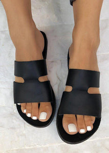 Summer Solid Round Toe Slippers - Black