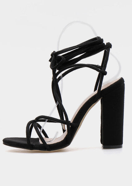 Solid Hollow Out Heeled Sandals - Black