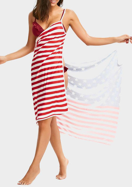 American Flag Backless Cover Up - Stripe