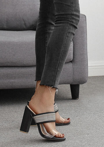 Striped Pointed Toe Heeled Sandals - Black
