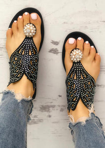Imitated Crystal Flat Sandals - Black