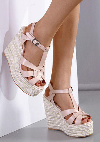 Solid Buckle Strap Wedges Sandals - Apricot
