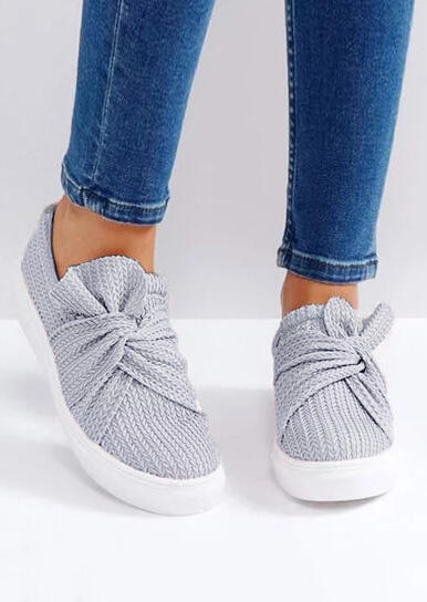 Knitted Twist Flat Sneakers - Gray