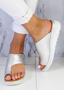 Summer Solid Round Toe Flat Sandals - Silver