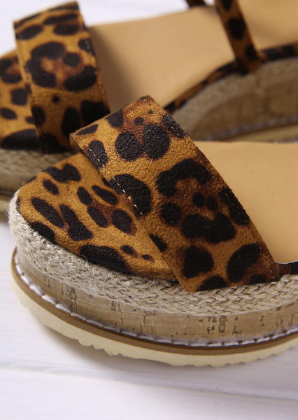 Leopard Printed Wrap Wedges Sandals - Leopard