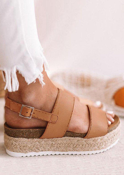 Solid Beach Buckle Braid  Wedges - Brown
