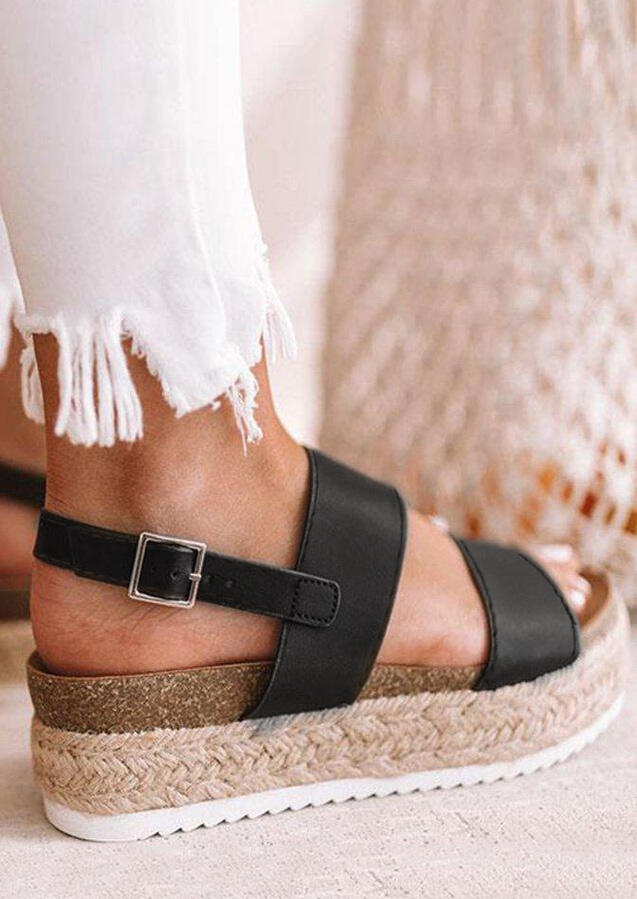Solid Beach Buckle Braid  Wedges - Black