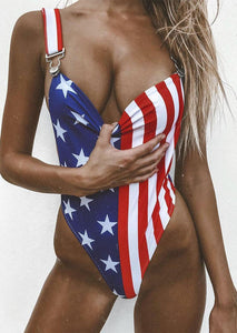 American Flag Backless Sexy Swimsuit - Blue