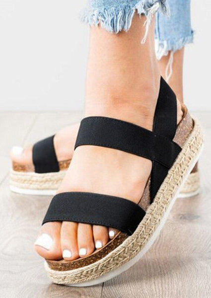 Solid Ankle Strap Platform Sandals - Black