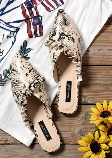 Snake Skin Printed Pointed Toe Slippers - Multi