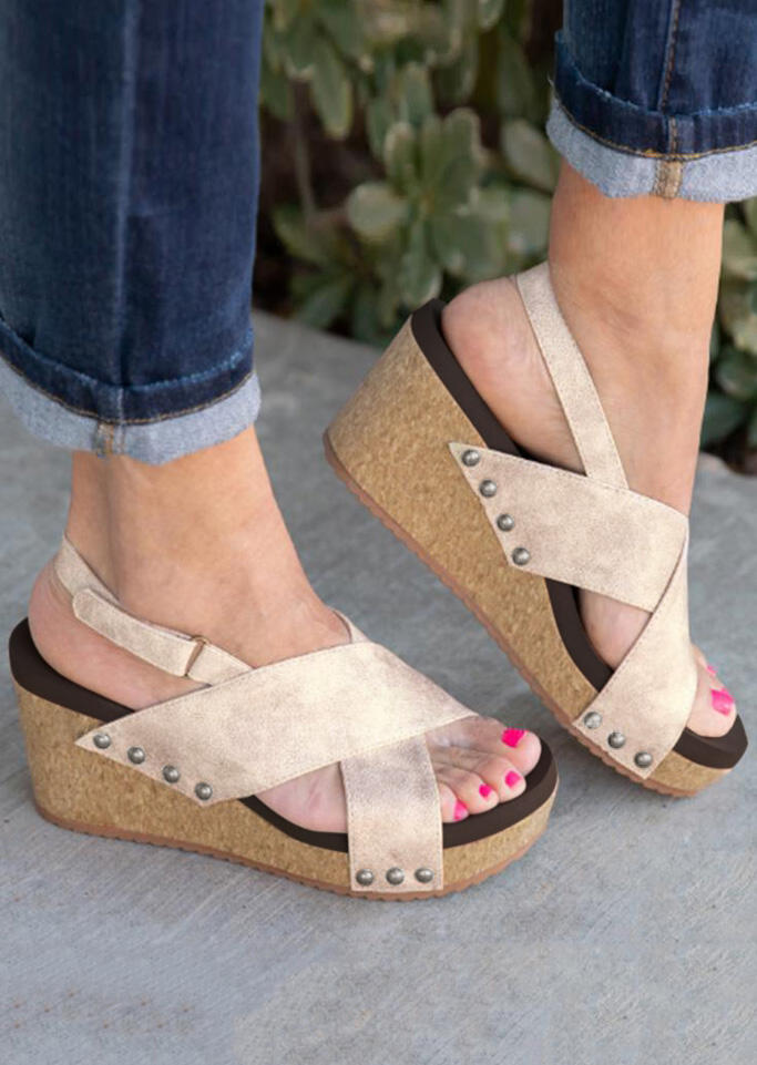 Solid Cross Wedge Sandals - Light Khaki