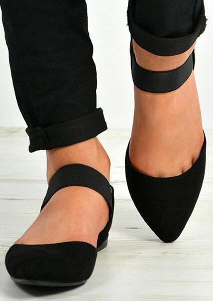 Solid Pointed Toe Ankle Strap Sandals - Black