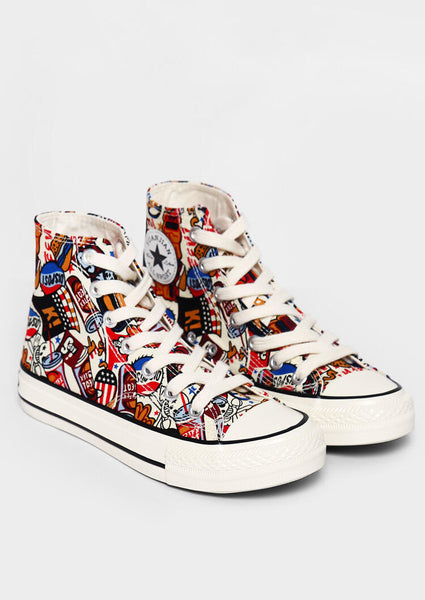 Printed Lace Up Sneakers - Multi
