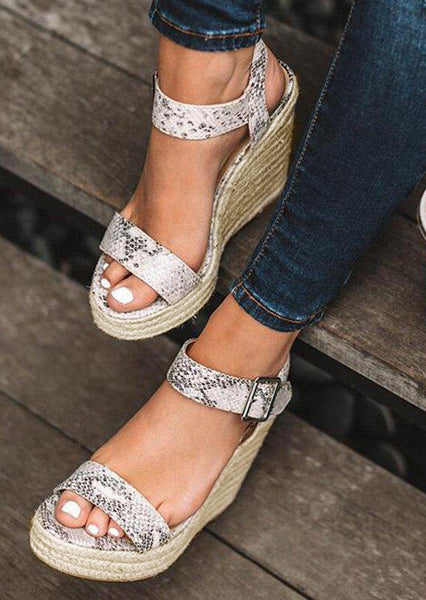 Snake Skin Buckle Strap Wedge Sandals - Multi