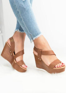 Summer Solid Wedge Sandals - Light Brown