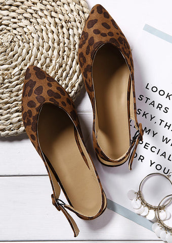 Leopard Printed Buckle Strap Flats -Leopard