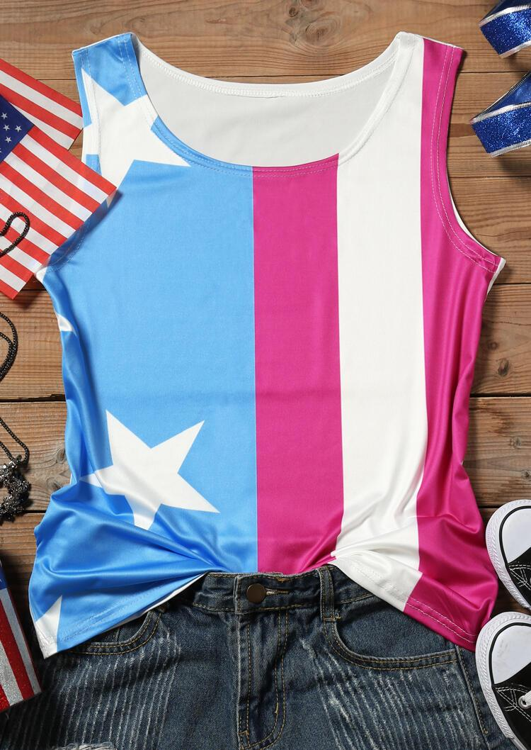 American Flag O-Neck Tank - Multicolor