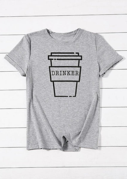 Coffee Drinker O-Neck T-Shirt Tee - Gray