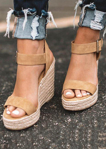 Solid Buckle Strap Wedge Sandals - Khaki