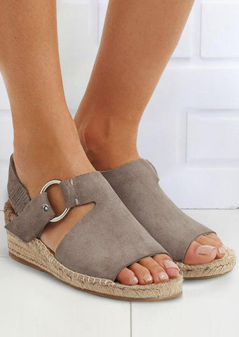 Solid Peep Toe Ring Wedge Sandals - Light Coffee