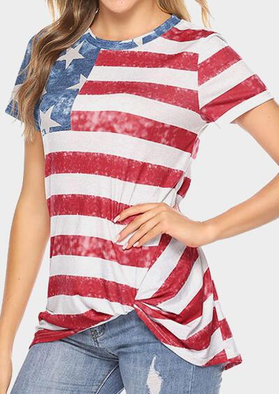 American Flag Striped Blouse without Necklace - Stripe