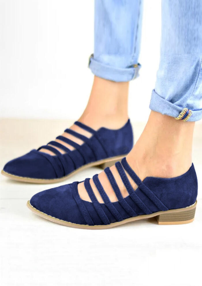 Solid Hollow Out Pointed Toe Flats - Blue