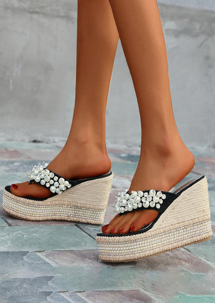 Summer Bead Wedge Flip Flops - Black