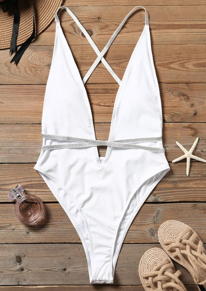 Sequined Splicing Deep V-Neck One-Piece Swimsuit - White
