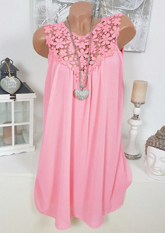 Solid Lace Splicing Tie Tank without Necklace - Pink