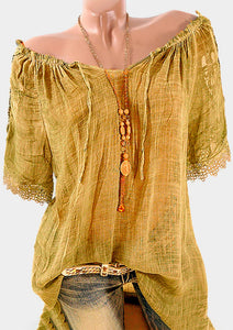 Solid Lace Splicing Ruffled Blouse without Necklace - Yellow