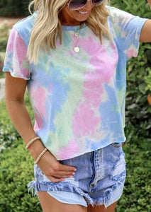 Tie Dye T-Shirt Tee without Necklace - Multicolor