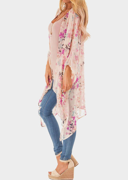 Floral Asymmetric Cardigan without Necklace - Pink