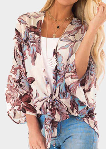 Floral Tie Flare Sleeve Cardigan without Necklace - Apricot