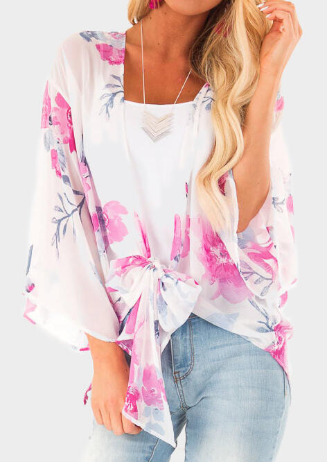 Floral Tie Flare Sleeve Cardigan without Necklace - White