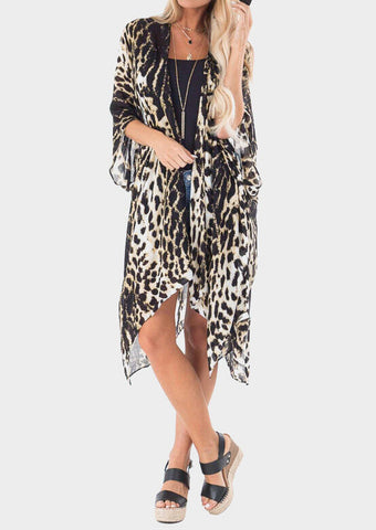 Leopard Printed Cardigan without Necklace - Leopard