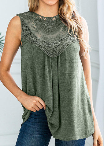 Solid Lace Splicing Tank - Army Green