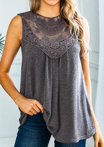 Solid Lace Splicing Tank - Gray