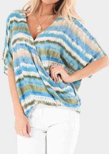 Striped Cross Batwing Sleeve Blouse without Necklace - Multicolor
