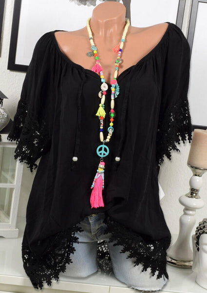 Solid Lace Splicing Off Shoulder Tie Blouse without Necklace - Black
