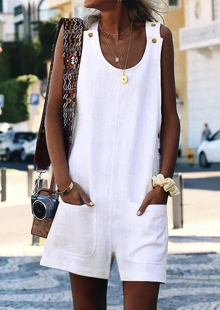 Solid Button Pocket Romper without Necklace - White