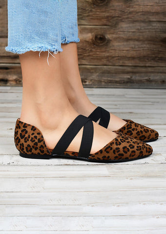Leopard Printed Criss-Cross Elastic Band Sandals - Leopard