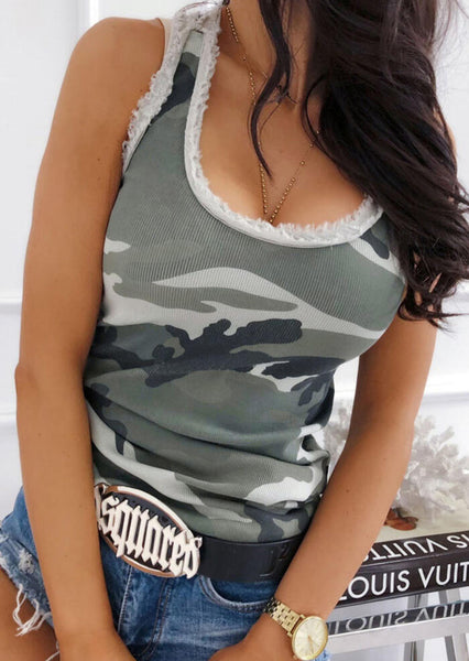 Camouflage Printed Tank without Necklace - Camouflage